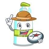 Savon liquide d'explorateur d'isolement avec sur la mascotte illustration libre de droits