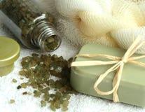 savon réglé de sels de bain Photo stock