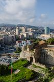 Savona from the fortress of Priamar. Panoramic view of Savona from the fortress of Priamar overlooking the sea Liguria royalty free stock image
