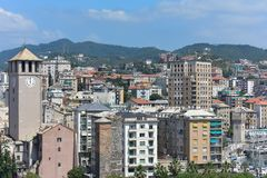 Savona Italy view from the top. The towers of Piazza del Brandale in the foreground and in the background the historic skyscraper stock images