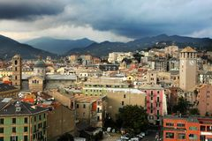 Savona. Panoramic view of Savona town in the afternoon Stock Photo