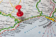 Savona pinned on a map of Italy. Road map of the city of Savona Italy Stock Images