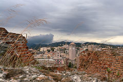 Savona from Priamar. View of savona bell tower from priamar fort Royalty Free Stock Photography