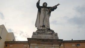 Savonarola Statue panoramic Ferrara Italy. Savonarola Statue panoramic in Ferrara Italy stock video