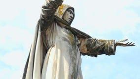 Savonarola Statue panoramic Ferrara Italy. Savonarola Statue panoramic in Ferrara Italy stock video footage