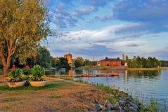 Savonlinna bij zonsondergang. Finland Royalty-vrije Stock Foto