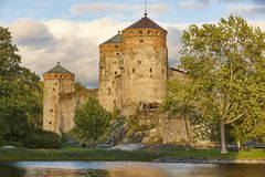 Savonlinna castle fortress tower. Finland landmark. Finnish heri. Tage. Horizontal Royalty Free Stock Image