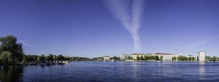 Savonlinna city panorama. Panoramic view of downtown Savonlinna, Finland Royalty Free Stock Images