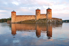 Savonlinna.  Fortress Olavinlinna at sunset Stock Image