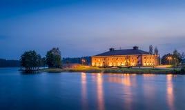 Savonlinna nautical museum. With night illumination, Finland Stock Image