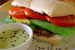 Savory beef and fresh vegetable sandwich with green mustard sauce royalty free stock image