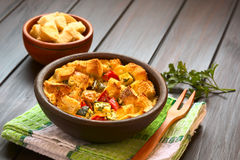Savory Bread Pudding with Vegetables Stock Image