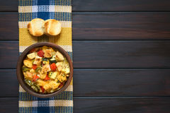 Savory Bread Pudding with Vegetables Stock Photo