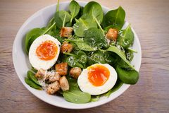 Savory breakfast: soft boiled egg with toasted bread, spinach and parmesan cheese. Healthy brunch meal. Stock Photography