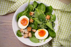 Savory breakfast: soft boiled egg with toasted bread, spinach and parmesan cheese. Healthy brunch meal. Royalty Free Stock Images