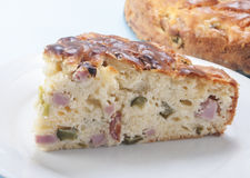 Savory cake with ham and cheese Royalty Free Stock Photos