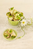 Savory cannoli stuffed with ricotta, peas and parsley. Overhead view Royalty Free Stock Photos