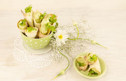Savory cannoli stuffed with ricotta, peas and parsley. Selective focus Stock Photos