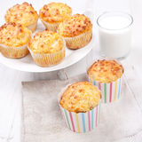 Savory cheese and bacon muffins on the white table Stock Photography