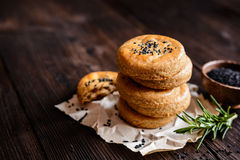 Savory cheese cookies with black cumin seeds stock photos