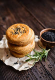 Savory cheese cookies with black cumin seeds stock images