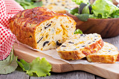 Savory cheese loaf with olives Royalty Free Stock Images