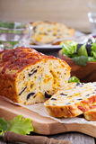 Savory cheese loaf with olives Royalty Free Stock Photos