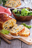 Savory cheese loaf with olives Royalty Free Stock Photo