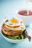 Savory cheese pancakes with egg Royalty Free Stock Photo