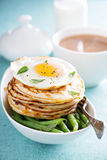 Savory cheese pancakes with egg Royalty Free Stock Photography