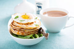 Savory cheese pancakes with egg Royalty Free Stock Images