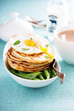 Savory cheese pancakes with egg Stock Image