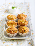 Savory courgette, herbs and feta muffins Royalty Free Stock Photos