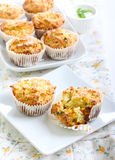 Savory courgette, herbs and feta muffins Stock Photo