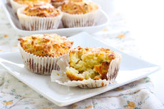 Savory courgette, herbs and feta muffins. On plate Stock Images