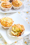 Savory courgette, herbs and feta muffins Stock Photos