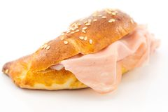 Savory croissant with mortadella Royalty Free Stock Images