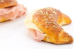 Savory croissant with mortadella Royalty Free Stock Image