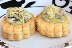 Savory filled pastry cases or vol-au-vents Royalty Free Stock Photo