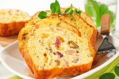 Savory ham and olive cake. Slices of savory ham and olive cake Stock Photo