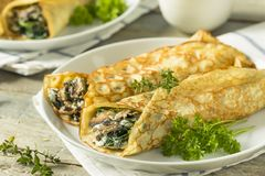 Savory Homemade Mushroom and Spinach Crepes. With Cheese Stock Photo