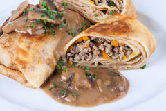 Savory mince pancakes or tortillas Stock Image