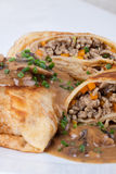 Savory mince pancakes or tortillas Royalty Free Stock Images