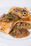 Savory mince pancakes or tortillas Royalty Free Stock Photography