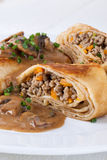 Savory mince pancakes or tortillas Royalty Free Stock Image
