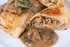 Savory mince pancakes or tortillas Stock Photos
