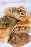 Savory mince pancakes or tortillas Stock Photo