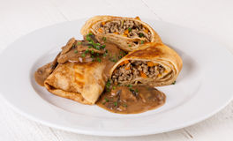 Savory mince pancakes or tortillas Stock Images