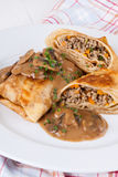 Savory mince pancakes or tortillas Stock Photography