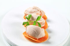 Savory mousse on crisps Stock Images